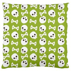 Skull Bone Mask Face White Green Large Flano Cushion Case (Two Sides)
