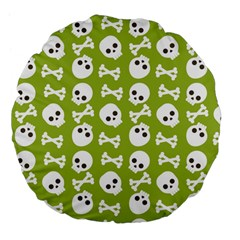 Skull Bone Mask Face White Green Large 18  Premium Flano Round Cushions
