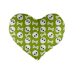 Skull Bone Mask Face White Green Standard 16  Premium Flano Heart Shape Cushions