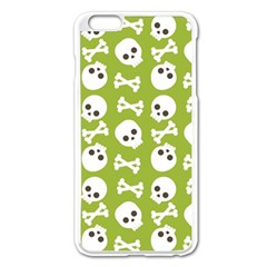 Skull Bone Mask Face White Green Apple iPhone 6 Plus/6S Plus Enamel White Case