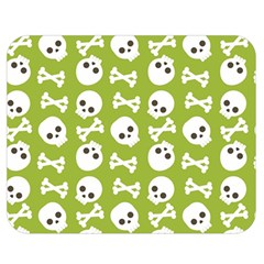 Skull Bone Mask Face White Green Double Sided Flano Blanket (Medium)
