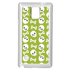 Skull Bone Mask Face White Green Samsung Galaxy Note 4 Case (White)