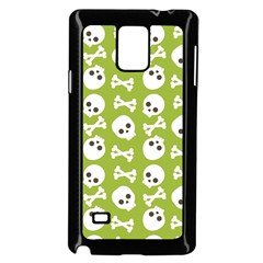 Skull Bone Mask Face White Green Samsung Galaxy Note 4 Case (Black)