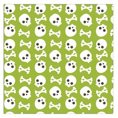 Skull Bone Mask Face White Green Large Satin Scarf (Square)