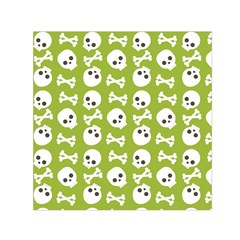 Skull Bone Mask Face White Green Small Satin Scarf (Square)
