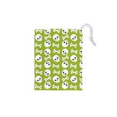 Skull Bone Mask Face White Green Drawstring Pouches (XS)