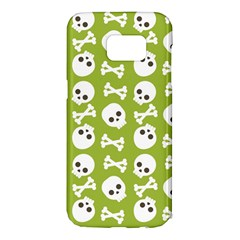 Skull Bone Mask Face White Green Samsung Galaxy S7 Edge Hardshell Case