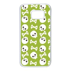 Skull Bone Mask Face White Green Samsung Galaxy S7 White Seamless Case