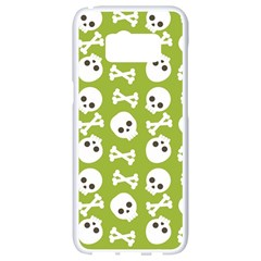 Skull Bone Mask Face White Green Samsung Galaxy S8 White Seamless Case