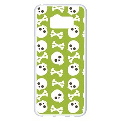 Skull Bone Mask Face White Green Samsung Galaxy S8 Plus White Seamless Case