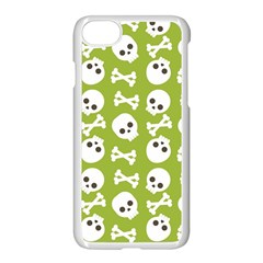 Skull Bone Mask Face White Green Apple iPhone 8 Seamless Case (White)