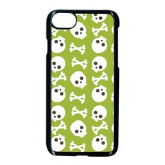 Skull Bone Mask Face White Green Apple iPhone 8 Seamless Case (Black)