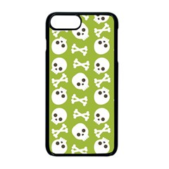 Skull Bone Mask Face White Green Apple iPhone 8 Plus Seamless Case (Black)
