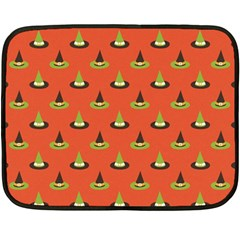 Hat Wicked Witch Ghost Halloween Red Green Black Double Sided Fleece Blanket (mini)