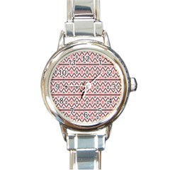 Red Flower Star Patterned Round Italian Charm Watch