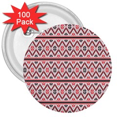Red Flower Star Patterned 3  Buttons (100 Pack)