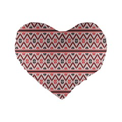 Red Flower Star Patterned Standard 16  Premium Heart Shape Cushions