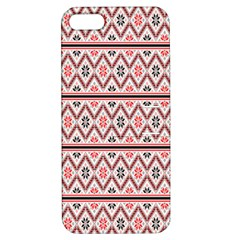 Red Flower Star Patterned Apple Iphone 5 Hardshell Case With Stand