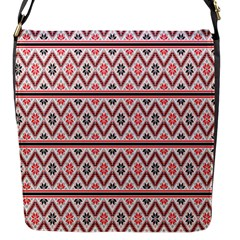 Red Flower Star Patterned Flap Messenger Bag (s) by Alisyart