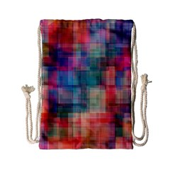 Rainbow Prism Plaid  Drawstring Bag (small) by KirstenStar