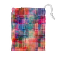 Rainbow Prism Plaid  Drawstring Pouches (extra Large) by KirstenStar
