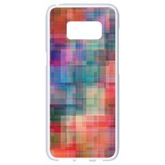 Rainbow Prism Plaid  Samsung Galaxy S8 White Seamless Case by KirstenStar