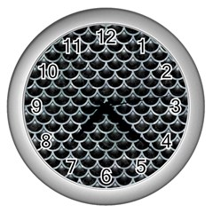 Scales3 Black Marble & Ice Crystals (r) Wall Clocks (silver)  by trendistuff