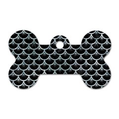 Scales3 Black Marble & Ice Crystals (r) Dog Tag Bone (two Sides) by trendistuff