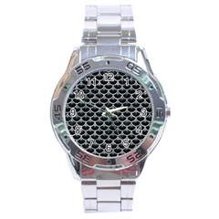 Scales3 Black Marble & Ice Crystals (r) Stainless Steel Analogue Watch by trendistuff