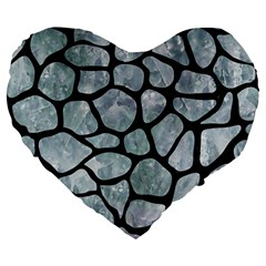 Skin1 Black Marble & Ice Crystals (r) Large 19  Premium Flano Heart Shape Cushions by trendistuff