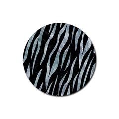 Skin3 Black Marble & Ice Crystals (r) Rubber Round Coaster (4 Pack)  by trendistuff