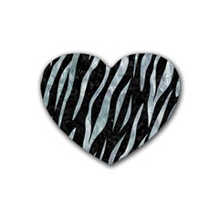 Skin3 Black Marble & Ice Crystals (r) Rubber Coaster (heart)  by trendistuff
