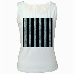 Stripes1 Black Marble & Ice Crystals Women s White Tank Top