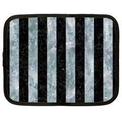 Stripes1 Black Marble & Ice Crystals Netbook Case (xl)  by trendistuff