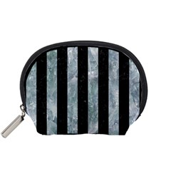Stripes1 Black Marble & Ice Crystals Accessory Pouches (small)  by trendistuff