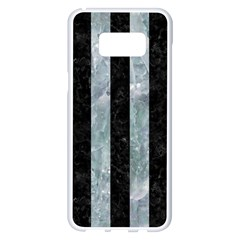 Stripes1 Black Marble & Ice Crystals Samsung Galaxy S8 Plus White Seamless Case by trendistuff