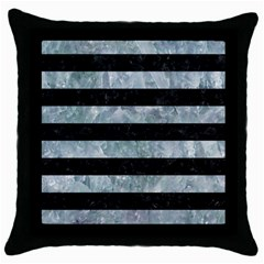 Stripes2 Black Marble & Ice Crystals Throw Pillow Case (black) by trendistuff