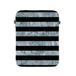 STRIPES2 BLACK MARBLE & ICE CRYSTALS Apple iPad 2/3/4 Protective Soft Cases Front