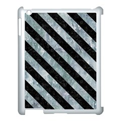Stripes3 Black Marble & Ice Crystals Apple Ipad 3/4 Case (white) by trendistuff