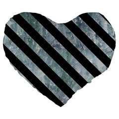Stripes3 Black Marble & Ice Crystals Large 19  Premium Flano Heart Shape Cushions