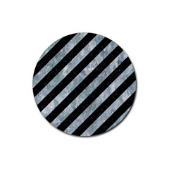 Stripes3 Black Marble & Ice Crystals (r) Rubber Coaster (round)
