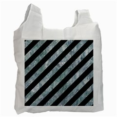 Stripes3 Black Marble & Ice Crystals (r) Recycle Bag (two Side)  by trendistuff