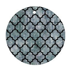 Tile1 Black Marble & Ice Crystals Round Ornament (two Sides) by trendistuff