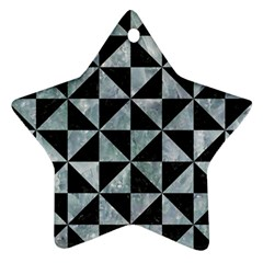Triangle1 Black Marble & Ice Crystals Star Ornament (two Sides) by trendistuff
