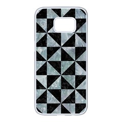 Triangle1 Black Marble & Ice Crystals Samsung Galaxy S7 Edge White Seamless Case by trendistuff