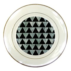 Triangle2 Black Marble & Ice Crystals Porcelain Plates by trendistuff
