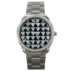 Triangle2 Black Marble & Ice Crystals Sport Metal Watch by trendistuff