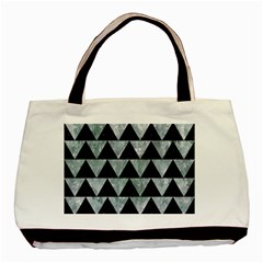 Triangle2 Black Marble & Ice Crystals Basic Tote Bag (two Sides)