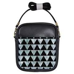 Triangle2 Black Marble & Ice Crystals Girls Sling Bags by trendistuff