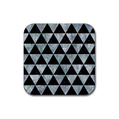 Triangle3 Black Marble & Ice Crystals Rubber Square Coaster (4 Pack)